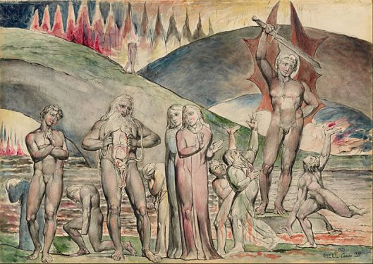The schismatics and sowers of discord: Mahomet (inspired by Dante), by William Blake (1757–1827) source