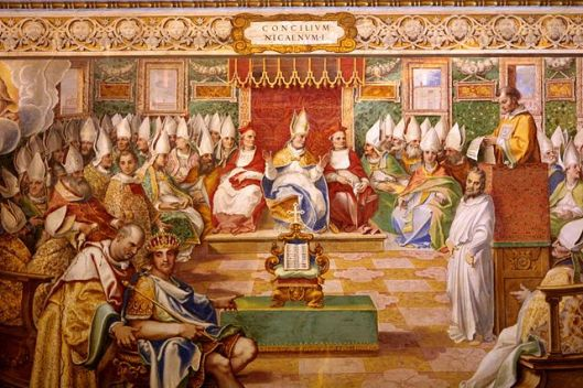 Council of Nicaea (325), Fresco in Capella Sistina, Vatican (source)