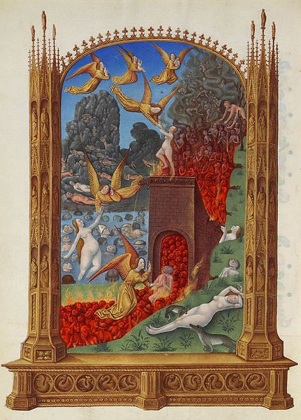Image of a fiery purgatory in the Très Riches Heures du Duc de Berry (source)