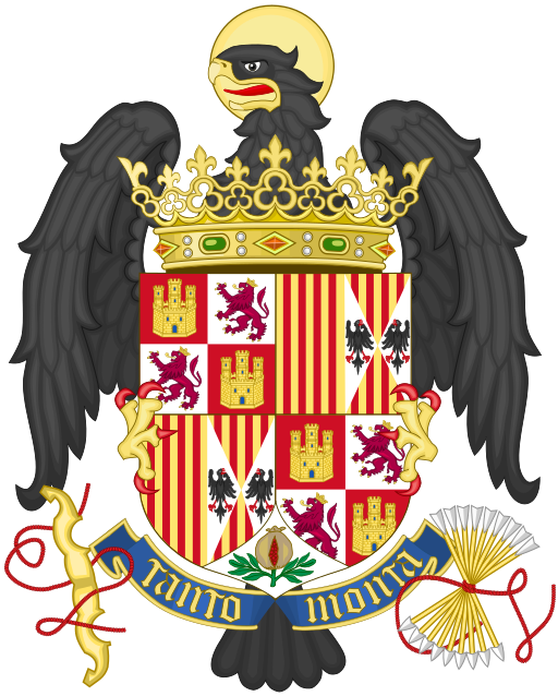 Coat of Arms of the Catholic Monarchs (Ferdinand and Isabel), 1492-1504 Menéndez-Pidal De Navascués, Faustino; El escudo; Menéndez Pidal y Navascués, Faustino; O´Donnell, Hugo; Lolo, Begoña. Símbolos de España. Madrid: Centro de Estudios Políticos y Constitucionales, 1999. ISBN 84-259-1074-9, pp. 175,176, graphic by Heralder (source/copyright information)