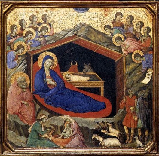 Duccio di Buoninsegna, The Nativity between Prophets Isaiah and Ezekiel (detail) source