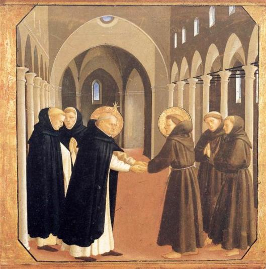 The Meeting Of Sts. Dominic and Francis of Assisi, by Blessed Fra Angelico (1434-1435) source. These were two Christian friends who were also resolute men.